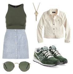 """Untitled #5"" by emilykgilmer ❤ liked on Polyvore featuring Onzie, New Balance, River Island, J.Crew, Ray-Ban and The Giving Keys"