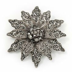 Victorian Style Black Diamante Flower Corsage Brooch In Gun Metal - 6.5cm Diameter Avalaya. $28.80. Metal Finish: black tone. Style: victorian. Theme: floral. Gemstone: diamante. Occasion: anniversary, cocktail party, going to theatre