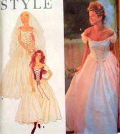 S 9163 PATTERN DRESS PRINCESS WEDDING BRIDAL GOWN LACE-UP RENAISSANCE 6-16 UNCUT