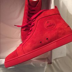 Christian Louboutin Sneakers 100% authentic christian louboutin sneakers size 8. Brand new never worn and comes with original box, dustbag, receipt and extra laces. These are the new 2016 release, their suede and red. Willing to do a deal on the price, feel free to comment if interested or have any questions :) Christian Louboutin Shoes Sneakers
