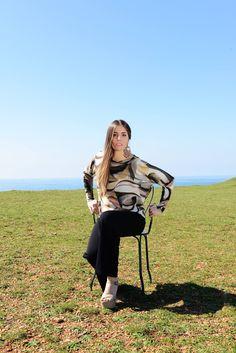 #DIESSE #FallWinter2016/17 #Blouse featuring bat long sleeves, boat neck, geometric print #model #GiuliaMarino #photographer #MariannaDepasquale #MakeUpArtist #LudovicaDePera #designer #DiegoSalerno  http://www.diessefashion.it/