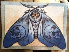 """Artist & Illustrator: Caitlin Hackett """"Who Will See Our Ghosts?"""" """"""""Who will see our ghosts? A new mini moth painting that's in my shop now, this piece is 3.5"""" by 5"""", in watercolor and pen & ink. For sale at www.caitlinhackett.storenvy.com."""" """""""