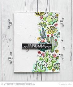 RejoicingCrafts: Loose watercolour card for MFT March Release Countdown Day 2. MFT Sweet Succulents stamp set. #mftstamps #succulents #watercolor