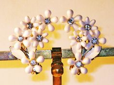 Vintage White Thermoset and Rhinestone by delightfullyvintage
