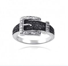 Sterling Silver 1/4ct Black & White Diamond Belt Buckle Ring