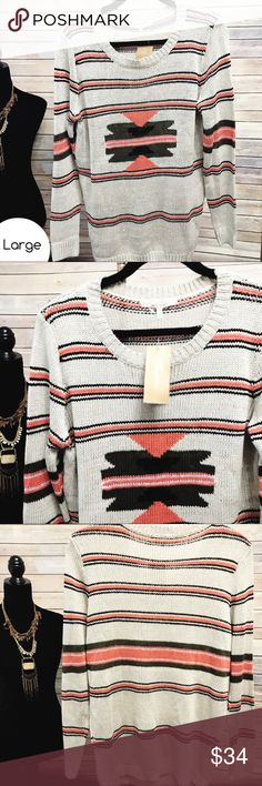 Francesca's | Cozy Sweater Size L • Cozy Knit Sweater • Orange, Black and cream stitching • Tags Attached • 📦 Bundle for a private discount! Sweaters