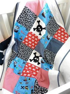 PIRATE Skull Crib Quilt ..One of a kind...Ready by AlphabetMonkey