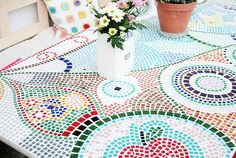 Mosaiktisch, Mosaictable, table, Terassentisch, Mosaik, Mosaic Red Apple, Kids Rugs, Bunt, Home Decor, Mosaic Stones, House Exteriors, Projects, Lawn And Garden, Decoration Home