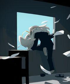 Angels are murderers! NEW avogado animefanart artanime animeart aniiime animecostplay angels animelove anime attackontitan ghibli ghiblistudio Dark Art Illustrations, Illustration Art, Dessin Old School, Sun Projects, Vent Art, Arte Obscura, Sad Art, Dark Fantasy Art, Japanese Artists