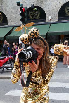 Anna Dello Russo turns snapper. Love the leopard cherries!