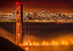 It was a very cool night, but there was some strange inversion happening. Almost anywhere I stood on the side of the hill was a steady hotel-room 72-degrees. And there was zero wind. It was a perfect night, and just when I arrived, the fog really started pouring over the bridge, so I set up for this shot… - San Francisco, California - Photo from #treyratcliff Trey Ratcliff at http://www.StuckInCustoms.com