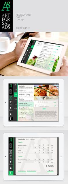 UI Concept: Restaurant Cart by paola gui, via Behance Restaurant App, Restaurant Website, Restaurant Menu Design, Dashboard Design, Ui Ux Design, Food Design, Salad Shop, Coffee Restaurants, Web Design Inspiration