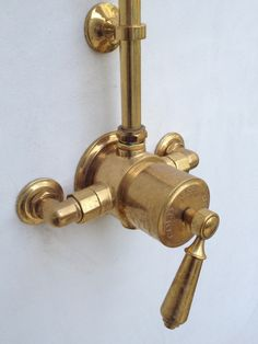 Velvet and Linen: Our bathroom at Patina Farm. Plumbing fixtures Source: Waterworks...great brass will mellow over time!