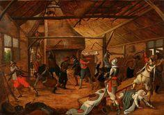 Sebastian Vrancx (1573-1647).  Из круга Себастьян Вранкс (1573–1647)  Нападение на ферму.