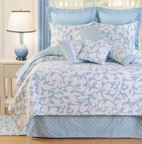 Serendipity Quilt Bedding is a happy choice for your bedroom decor. The cotton Bed Quilt has vermicelli quilting and a rococo-inspired motif on an off-white. Blue And White Bedding, Blue Bedding, Quilt Bedding, Bedding Sets, Bedspread, White Bedroom, Tropical Bedding, Coastal Bedding, Luxury Bedding