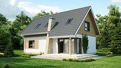 Z79 - Prosty, ekonomiczny dom z poddaszem i funkcjonalnym wnętrzem, dach dwuspadowy.