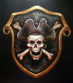 Every decent seadog needs a crest or very least an insignia t' be callin' his own. Makes sure yours communicates everythin' someone might need t' know if they's thinkin' on if th' ortin' ta ready th'. Pirate Signs, Pirate Art, Pirate Skull, Pirate Life, Pirate Theme, Pirate Tattoo, Desenho Tattoo, Skulls And Roses, Black Sails