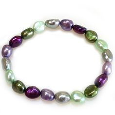 """Honora 8-9 MM """"Grapevine"""" Freshwater Pearl 7.5 Inch Stretch Bracelet With Purple, Green and Grey Pearls"""