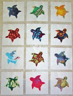 "Set of 12 Batik Fabric Sea Turtle  6"" x 6""  Cotton Quilt  Blocks    eBay"