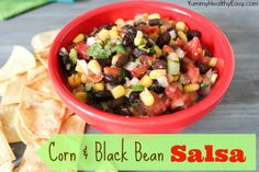 Yummy Healthy Easy | Corn & Black Bean Salsa with Homemade Tortilla Chips #salsa #snack #dip