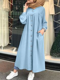Stylish Hijab, Modest Fashion Hijab, Modesty Fashion, Abaya Fashion, Stylish Dresses, Casual Dresses, Maxi Dresses, Islamic Fashion, Muslim Fashion