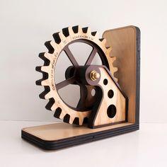 Steampunk Wooden Bookend - Unique Modern Furniture - Dot & Bo