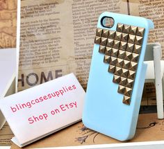 Can choose color Bronze Rivet  Studded Right triangle High-quality  light blue cell phone case for iphone 4s cover for iphone 4. $8.00, via Etsy.