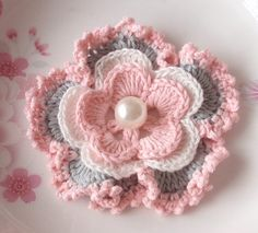 Crochet Flower in 31/4 inches in Lt Pink Off White ♥ by YHcrochet, $2.80