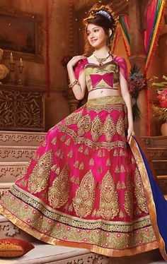 Picture of Attractive Deep Pink Kids Lehenga Choli