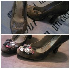 Spruce up an old pair of shoes by hot gluing an array of fun button to them! Diy Fashion Hacks, Fashion Tips, Love Craft, Peep Toe, Pairs, Buttons, My Style, Outfit, Heels
