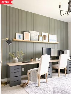 Before and After: A smart IKEA hack makes this home office transformation extra practical. Before and After: A smart IKEA hack makes this home office transformation extra practical. Home Office Space, Ikea Home, Long Desk, Home, Interior, Home Office Design, Home Decor, Office Design, Ikea Home Office