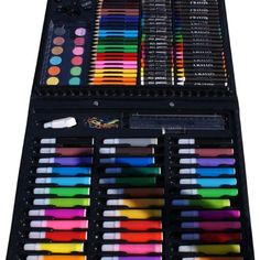Markers, Paint, Colored Pencils, Chalk and Crayon kit. Loved these. It had everything I needed to color with.