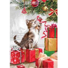 Christmas Kitten House Flag
