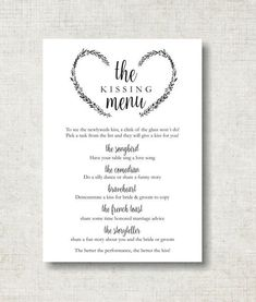 Trendy Wedding Games For Reception Kissing Menu Ideas Kissing Menu, Wedding Kissing Games, Wedding Reception Activities, Wedding Reception Signs, Wedding Receptions, Wedding Events, Wedding Ideas, Wedding Stuff, Wedding Rings