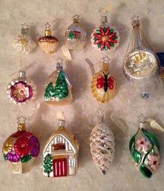 Box 12 Antique Vintage Mercury Glass Feather Tree Xmas Ornaments German Unused