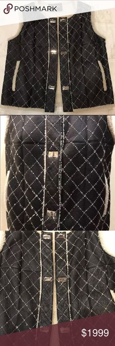 Authentic Chanel Sheepskin Runway Vest Stunning! Warm, fun and jazzy! Authentic Chanel from the runway! Size 6-8. Very dark brown black color with shearling. Pure class CHANEL Jackets & Coats