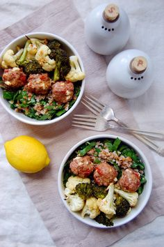Roasted Vegetable Bulgur Wheat Bowl with Lamb Meatballs - a great spring dinner recipe! | Uproot from Oregon