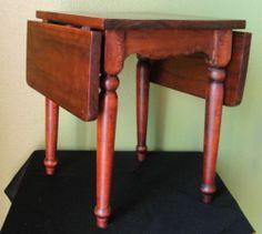 Miniature Black Walnut Drop Leaf Table Salesman Sample Dollhouse Furniture