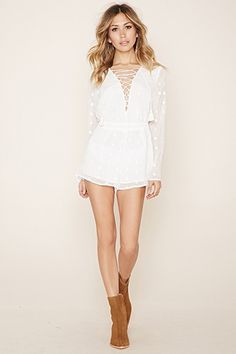 Embroidered Lace-Up Romper