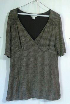 ANN TAYLOR LOFT womens baby doll tunic sz L Short slv Black tan Green geometric  #AnnTaylorLOFT #KnitTop #Casualtocareer