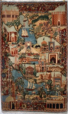 A rug woven as a map of Iran with famous buildings representing each city. £1,995