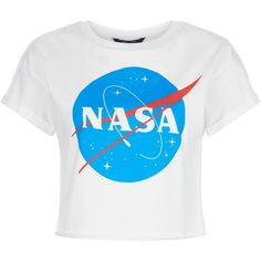Teens White NASA Print T-Shirt (835 RUB) ❤ liked on Polyvore featuring tops, t-shirts, shirts, crop top, blusas, print t shirts, pattern t shirt, white tops, print tees and patterned tops