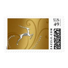 Holiday Gold Shimmer w/ Silver Deer Postage