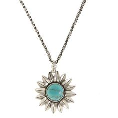 LUCKY BRAND Turquoise Flower Pendant Necklace ($35) ❤ liked on Polyvore featuring jewelry, necklaces, accessories, colares, bijoux, turquoise, turquoise necklace pendant, charm chain necklace, charm pendant necklace and pendants & necklaces