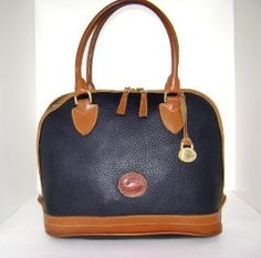 Dooney & Bourke Vintage Navy Blue Pebble Leather Tote Handbag : Handbags