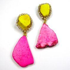 Statement Earrings Handmade Stone pop color turquoise earrings yellow pink crystal embellished earrings. Etsy.