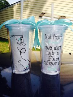 Best friends long distance tumbler cup by TheGirlsinPink on Etsy Bff Gifts, Best Friend Gifts, Cute Gifts, Gifts For Friends, Bestest Friend, Sister Gifts, Long Distance Best Friend, Tumbler Cups, Best Friends Forever