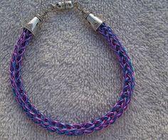 Pink and Blue Duet Viking Knit Bracelet Magnetic Closure