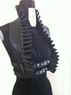 Salvaged Leather Ruffle Vest Edwardian Halter Eco Victorian Goth Fetish Post Apocalyptic Steampunk Harness Underbust Vamp Costume Pirate