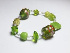 Peridot Green Fancy Glass Beadwork Stretch Bracelet by tzteja